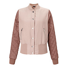 Buy Miss Selfridge Quilted Sleeve Bomber Jacket, Powder Blush Online at johnlewis.com