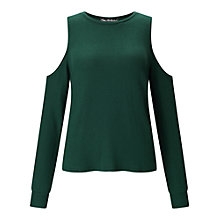 Buy Miss Selfridge Cold Shoulder Jumper, Dark Green Online at johnlewis.com