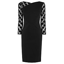 Buy Karen Millen Spot Sleeve Mini Dress, Black Online at johnlewis.com