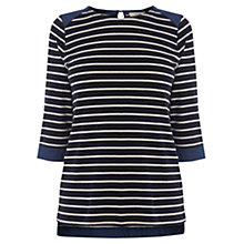 Buy Oasis Chambray Cuff Breton Top, Navy Online at johnlewis.com