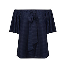 Buy Somerset by Alice Temperley Flock Off Shoulder Top, Navy Online at johnlewis.com