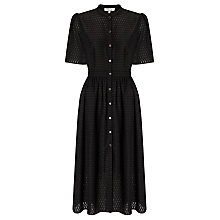 Buy Somerset by Alice Temperley Flocked Button Through Dress, Black Online at johnlewis.com