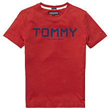 Buy Tommy Hilfiger Boys' Ame Organic Cotton Printed T-Shirt, Red Online at johnlewis.com