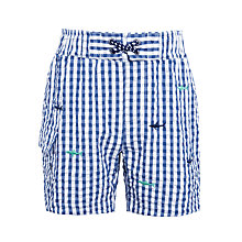 Buy John Lewis Boys' Gingham Shark Swim Shorts, Blue Online at johnlewis.com