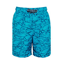 Buy John Lewis Boys' Sketch Shark Board Shorts, Teal Online at johnlewis.com