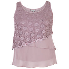 Buy Chesca Scallop Lace And Chiffon Cami, Dark Lavender Online at johnlewis.com