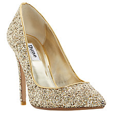 Buy Dune Aiyana Pointed Toe Court Shoes, Gold Glitter Online at johnlewis.com