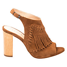 Buy Unisa Wome Fringe Block Heeled Sandals, Walnut Online at johnlewis.com