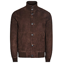 Buy Reiss Espresso Button Suede Jacket, Brown Online at johnlewis.com