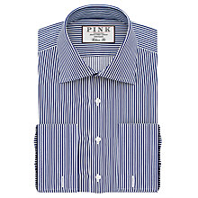Buy Thomas Pink Grant Classic Fit XL Sleeve Double Cuff Stripe Shirt, Navy/White Online at johnlewis.com