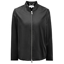 Buy Reiss Leather Beau Cropped Jacket, Black Online at johnlewis.com