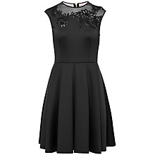 Buy Ted Baker Dollii Embroidered Mesh Detail Skater Dress, Black Online at johnlewis.com
