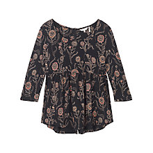 Buy Fat Face Penny Poppies Peplum Top, Black Online at johnlewis.com