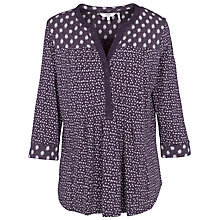 Buy Fat Face Pleated Ditsy Top, Phantom Online at johnlewis.com