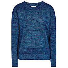 Buy Reiss Richelle Crew Neck Jumper, Blue Metallic Online at johnlewis.com