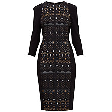Buy Ted Baker Mileae Sparkle Jacquard Midi Dress, Black Online at johnlewis.com