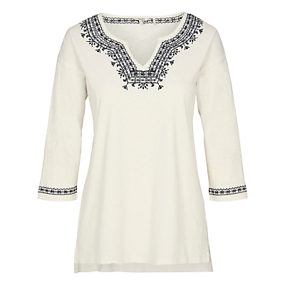Fat Face Bantham Embroidered Top, Ivory