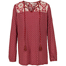 Buy Fat Face Ripley Foulard Longline Top, Flame Online at johnlewis.com