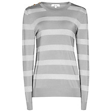 Buy Reiss Githa Metallic Stripe Jumper, Silver Online at johnlewis.com