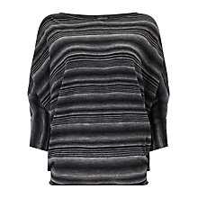 Buy Phase Eight Variated Stripe Becca Top, Black/Grey Online at johnlewis.com