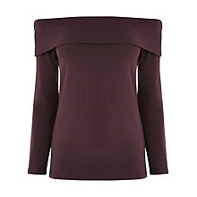 Buy Warehouse Bardot Top, Dark Purple Online at johnlewis.com