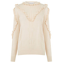 Buy Warehouse Frill Yoke Pointelle Jumper, Stone Online at johnlewis.com