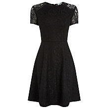 Buy Warehouse Lace Skater Dress, Black Online at johnlewis.com