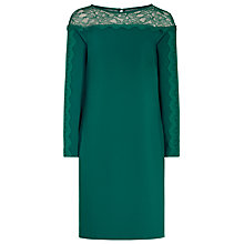 Buy Reiss Claudia Lace Top Dress, Bright Emerald Online at johnlewis.com
