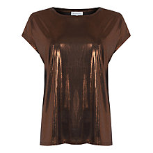 Buy Warehouse Slinky Lamé T-Shirt, Bronze Online at johnlewis.com