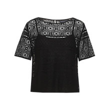 Buy Tommy Hilfiger Jules Cotton Lace Top, Jet Black Online at johnlewis.com