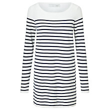 Buy Oui Stripe Knitted Dress, Denmin Blue/White Online at johnlewis.com