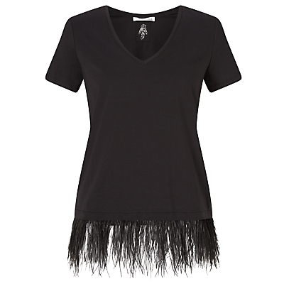 Oui Feather Hem T-Shirt, Black