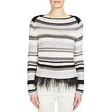 Buy Oui Stripe Jumper, Light Camel/Grey Online at johnlewis.com