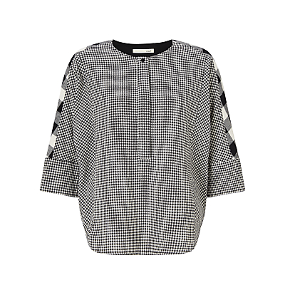 Oui Check Blouse, Off White/Grey