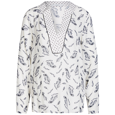 Oui Feather Print Blouse, Off White/Grey