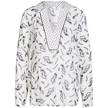 Buy Oui Feather Print Blouse, Off White/Grey Online at johnlewis.com