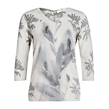 Buy Oui Feather Print Sweatshirt, Light Grey/Camel Online at johnlewis.com