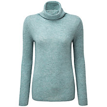 Buy Pure Collection Lola Cashmere Polo Neck Jumper, Blue Frost Online at johnlewis.com