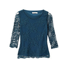 Buy Precis Petite Serena Lace Jersey Top, Dark Green Online at johnlewis.com