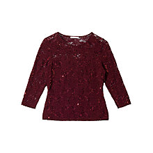 Buy Precis Petite Julia Lace Sparkle Top, Dark Red Online at johnlewis.com