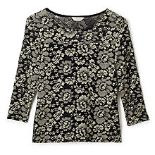 Buy Precis Petite Contrast Lace Top, Black/Gold Online at johnlewis.com