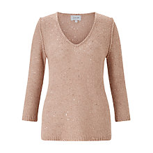Buy Jigsaw Sparkle V Neck Jumper, Ceramic Pink Online at johnlewis.com