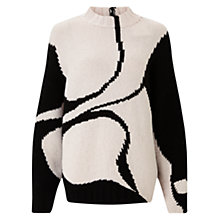 Buy Jigsaw Silhouette Intarsia Jumper, White/Black Online at johnlewis.com