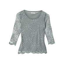 Buy Precis Petite Bree Lace Top, Light Grey Online at johnlewis.com
