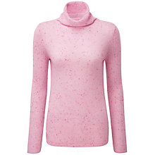 Buy Pure Collection Joanna Cashmere Polo Neck Jumper, Pink Fleck Online at johnlewis.com