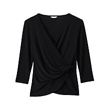 Buy Precis Petite Adelina Wrap Jersey Top, Black Online at johnlewis.com