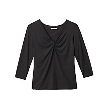 Buy Precis Petite Karla V-Neck Knot Jersey Top, Dark Grey Online at johnlewis.com