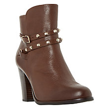 Buy Dune Padro Studded Block Heeled Ankle Boots, Tan Online at johnlewis.com