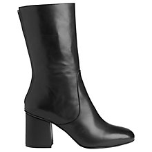 Buy Whistles Dawson 3/4 High Block Heel Boots, Black Leather Online at johnlewis.com