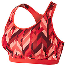 Buy Nike Pro Fierce Geo Prism Sports Bra, Max Orange/University Red Online at johnlewis.com
